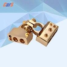 2 unids Terminales de La Batería Del Coche de Metal Chapado En Oro Gauge Positivos/Nagative F 0/1 2 4 8 AWG de Oro