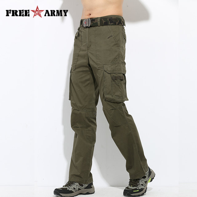 6d012955368 FreeArmy Brand Spring Men Casual Pants Summer Army Green Military Work  Trousers Big Pockets Full Length Trousers Men Pants Cargo