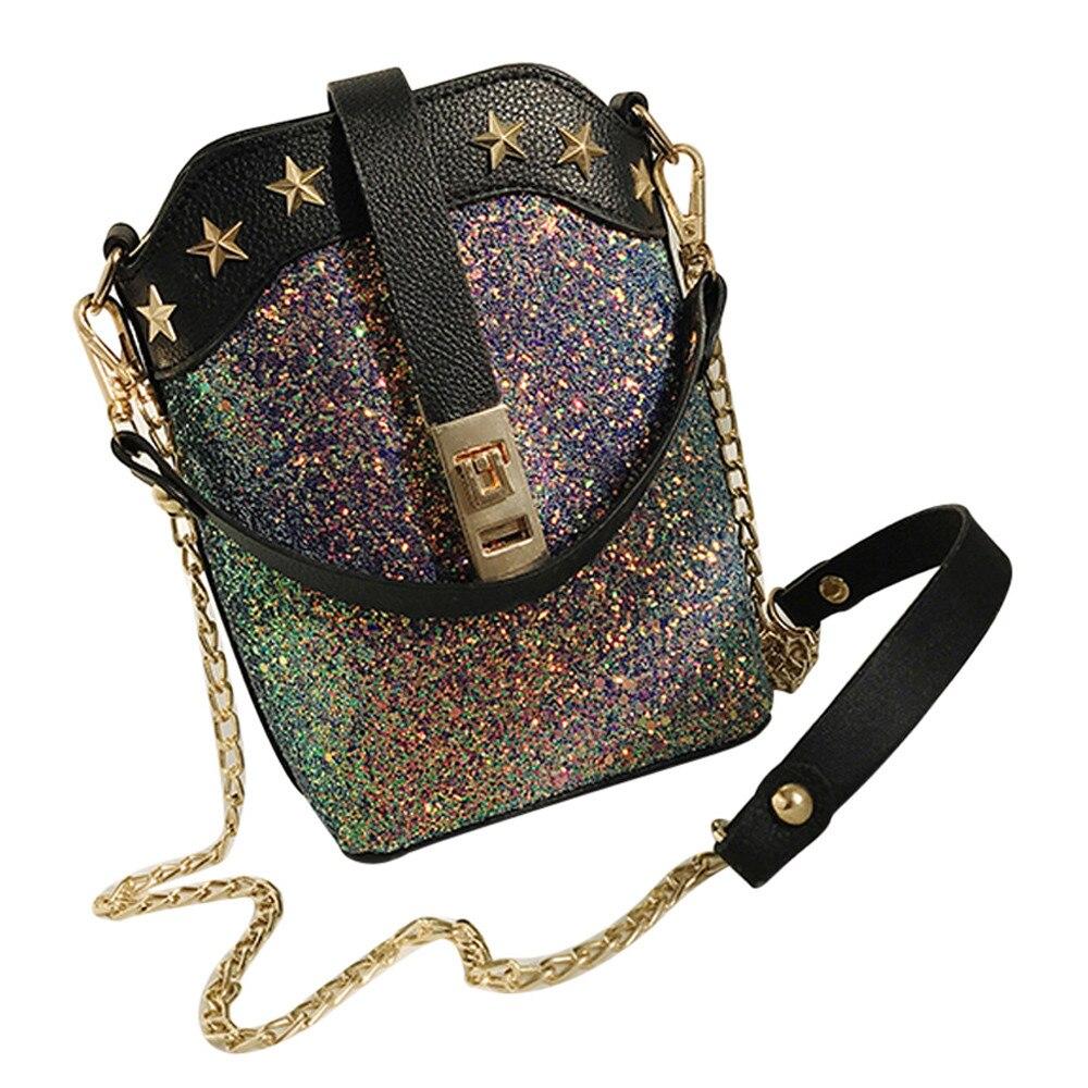 womens handbags Womens Leather Sequins Crossbody Bag medvedkovo Shoulder Bags Purse Hand Bag Girls Female Bolsa womens bags A8