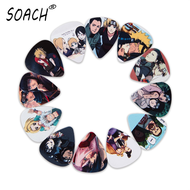 SOACH 10pcs 3 Kinds Of Thickness New Guitar Picks Bass Japanese Anime Naruto Couple Pictures Quality Print Guitar Accessories
