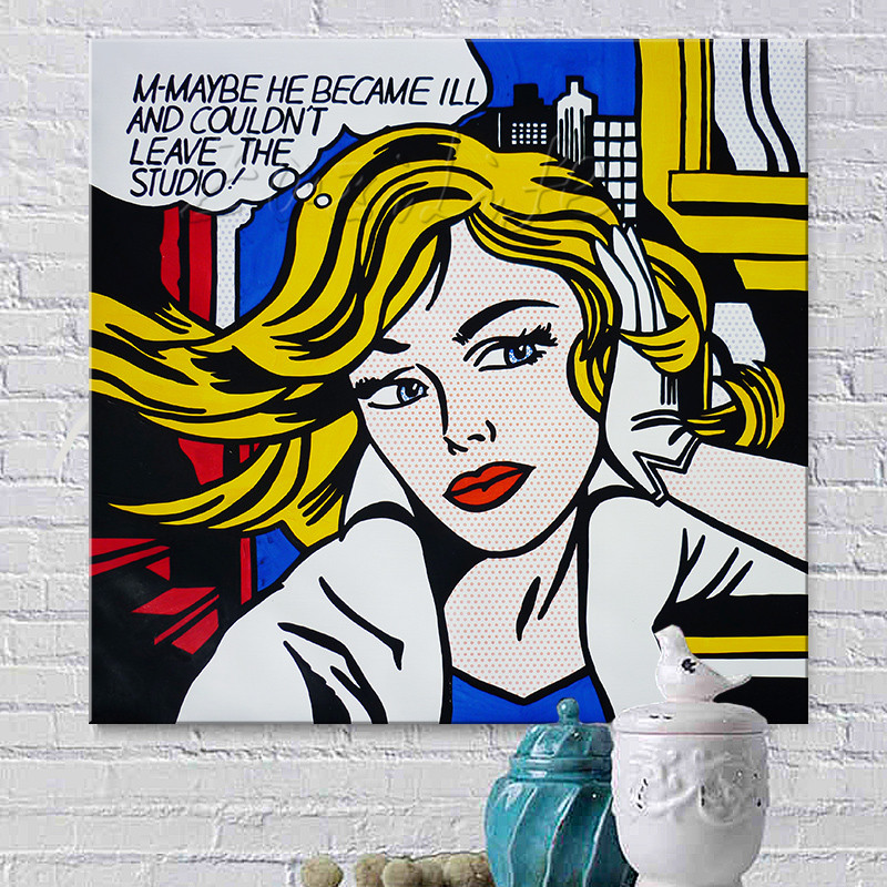 Cartoon Pop Art Women Wall Art Large Poster /& Canvas Picture Roy Lichtenstein