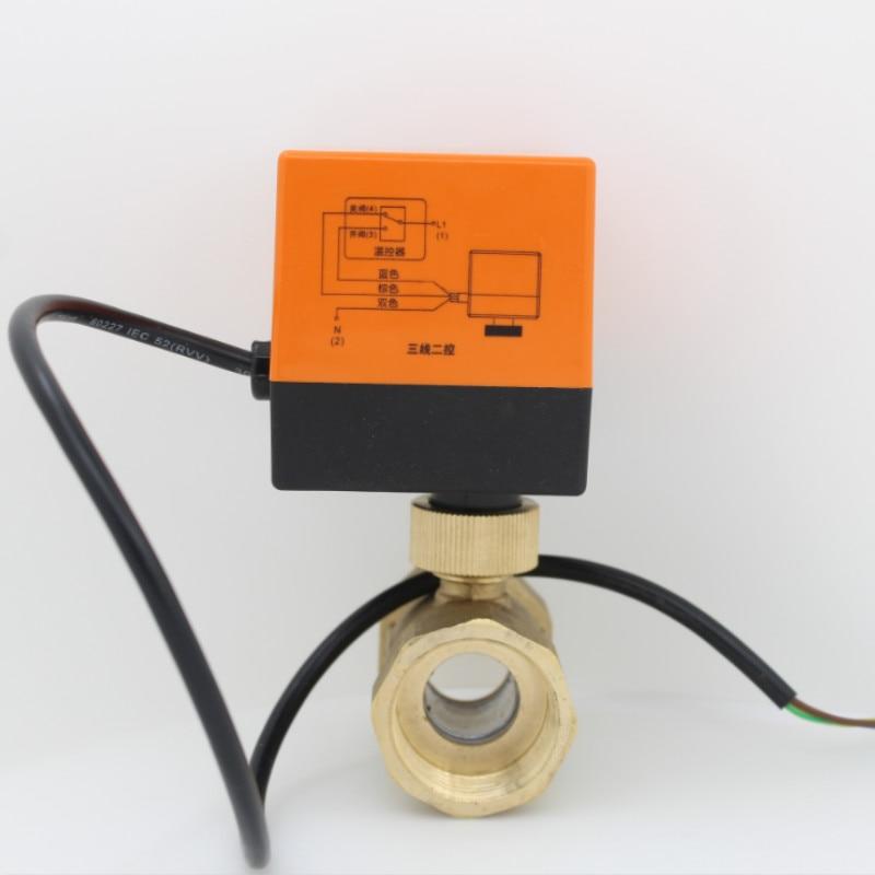 AC24V AC220V Electric Actuator Brass Ball Valve Cold&hot Water/Water Vapor/heat Gas 2 Way Brass Motorized Ball Valve DN15 - DN32