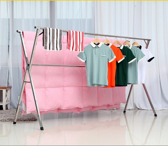 new year Stainless steel landing folding drying rack double drying racks were balcony indoor clothes retractable airedales