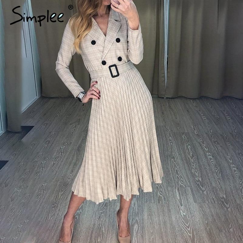 Simplee Pleated Belt Dress