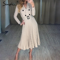 Simplee Vintage pleated belt plaid dress women Elegant office ladies blazer dresses Long sleeve female autumn midi party dress