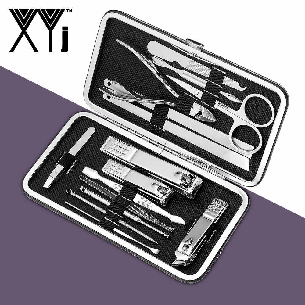 XYj 15 pz/set Unghie artistiche di Strumenti per Manicure Set Unghie Tagliatore di Pedicure Kit In Acciaio Inox Cura delle unghie Strumenti di Attrezzi strigliatura e tolettatura Kit con il Caso