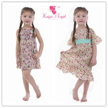 Kaiya Angel Girls Cute Short Sleeve Summer Morning Glory Bowknot Floral Dress Princess Spring Summer Autumn Children Clothing