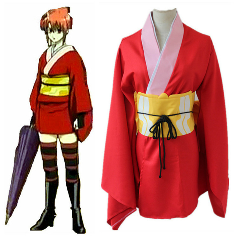 In Workmanship Dress Kimono Cosplay For Jyunna Kagura For Gin Tama With Wigs Boots And Umbrella Vestidos Japan Anime Halloween Costume Adult Exquisite