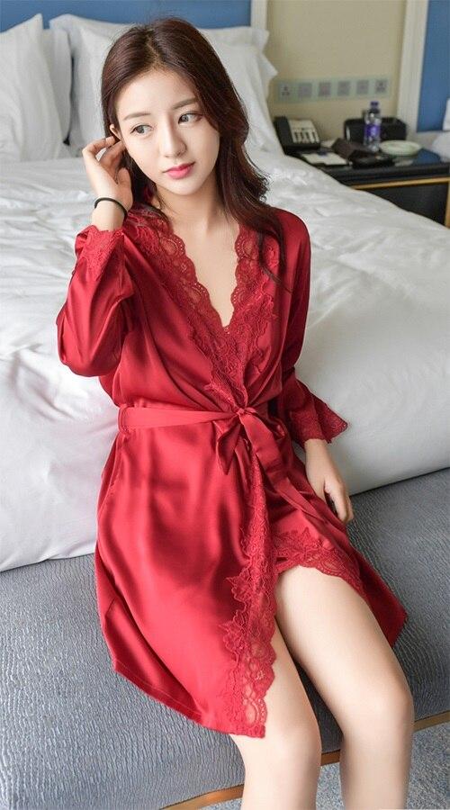 Сплошной цвет для женщин кружево шифоновый халат и набор ночных рубашек двойка халат sp0086 - Цвет: Wine Red