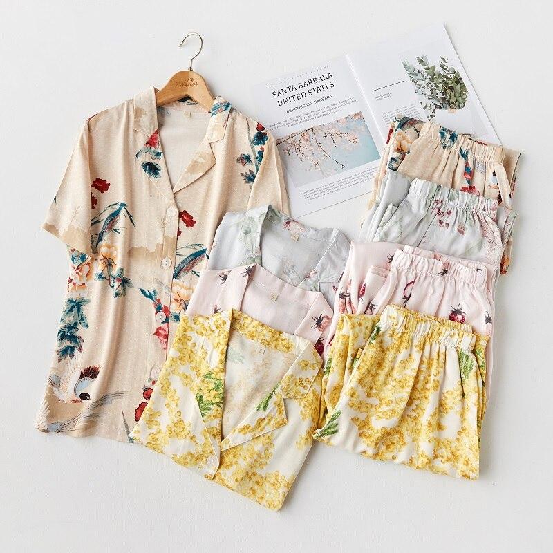 Женский пижамный комплект с коротким рукавом, летние длинные штаны с цветочным принтом из вискозы, повседневные хлопковые пижамы с клубнич...
