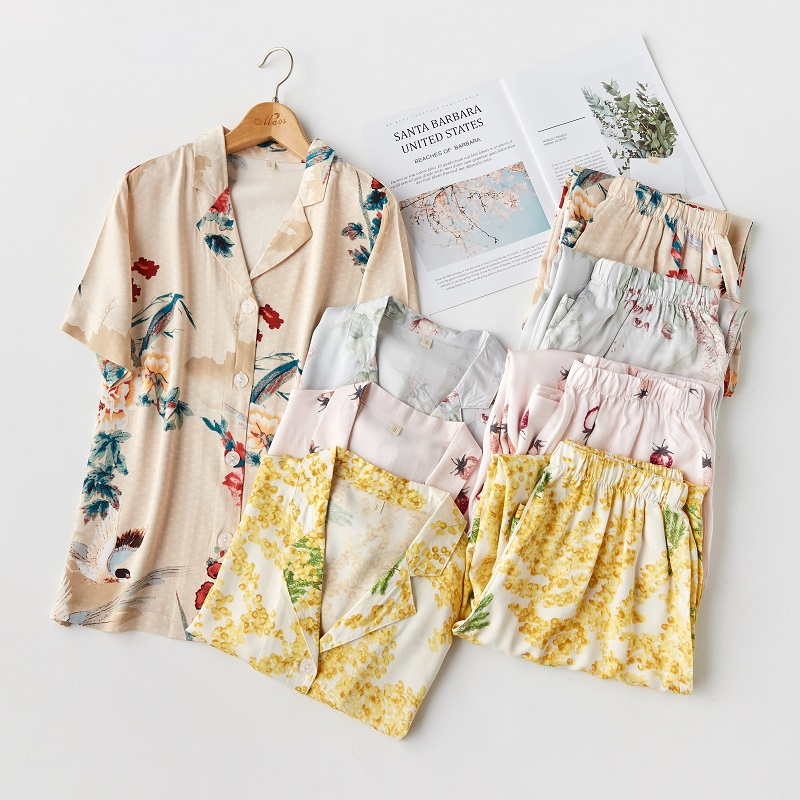 Summer Floral Print Viscose Fashion Women's   Pajama     Set   Short Sleeve Long Pants Casual Sleepwear Suits Strawberry Cotton Pyjamas