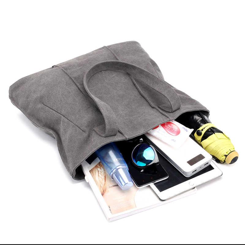 Ukuran besar Kanvas Klasik Tote Tas wanita Kasual Besar Kapasitas Bahu Tas Gadis Retro Travel Kualitas Tinggi Belanja tas