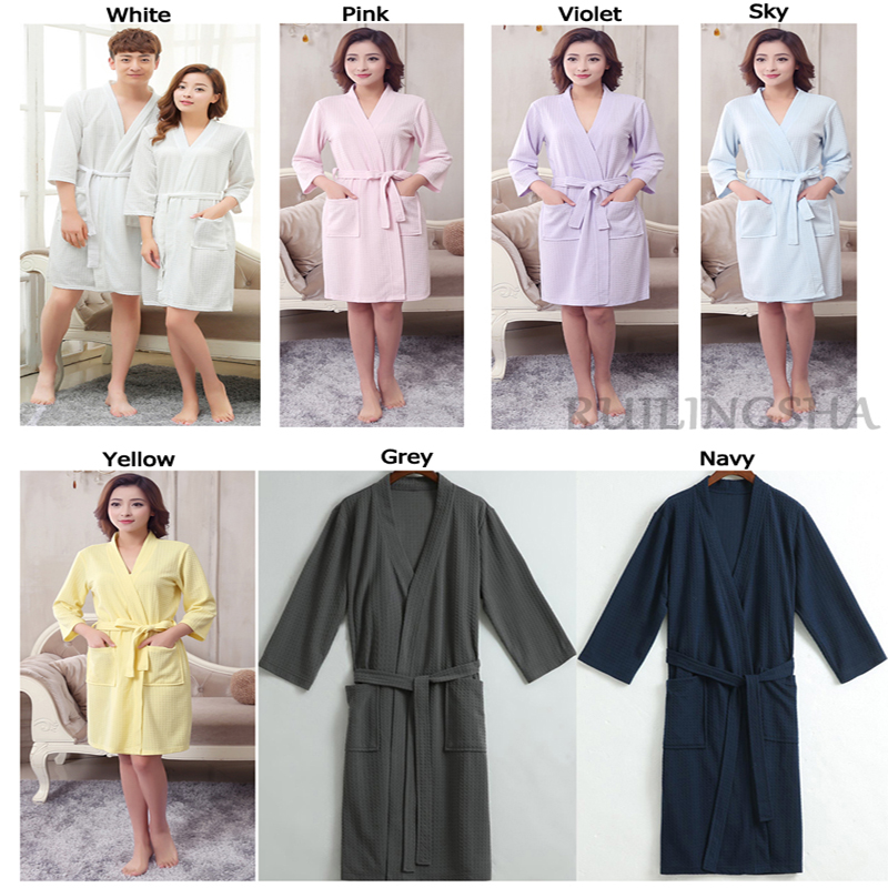 1ea0f919f0 Lovers Towel Elegant Robe Men Women Kimono Waffle BathRobe Male Sleepwear  Mens Dressing Gown Badjas Wedding Bridesmaid Robes-in Robes from Underwear  ...