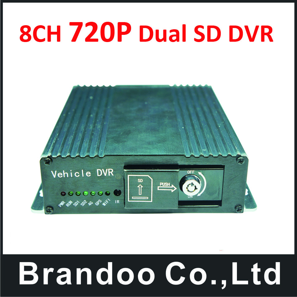 Free shipping 8CH 720P mobile vehicle car DVR support 2pcs 128GB SD card,SD DVR for bus truck vehicle use
