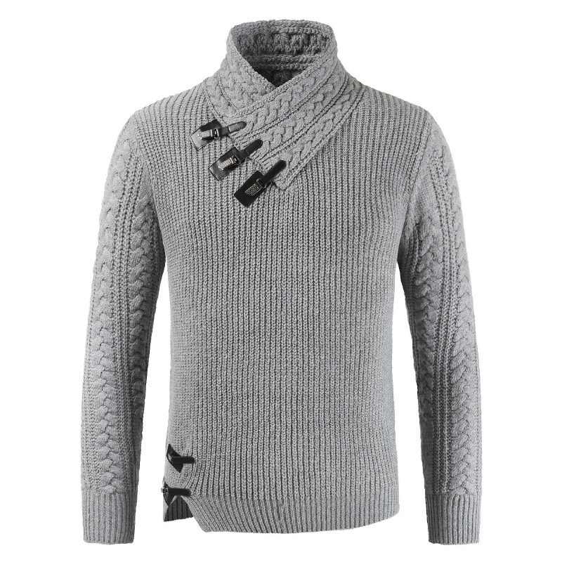 New Men Knitted Sweaters Turtleneck Leather Buckle Jumper Men's Cotton Pullover Knitting Fashion Long Sleeve Sweater Clothing