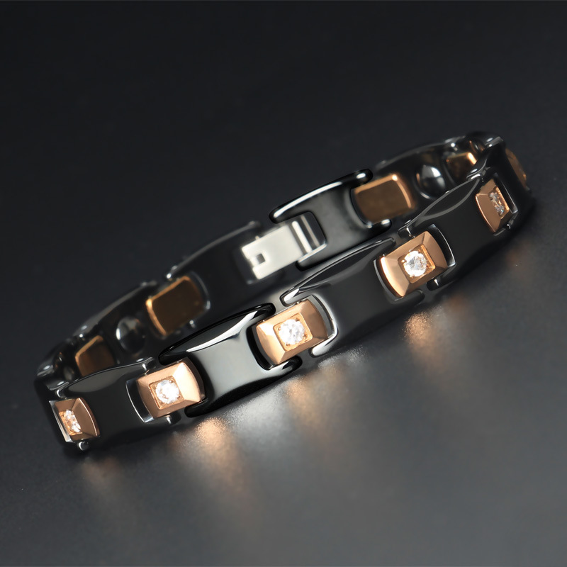 High grade Luxury Male and Female Couples Tungsten Gold Ceramic Bracelet Inlaid with Zirconium Tungsten Steel Jewelry in Chain Link Bracelets from Jewelry Accessories