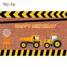 Yeele Tractor Brick Wall Backdrops Boys Birthday Portrait Photography Background Custom Photographic Backdrop For Photo Studio