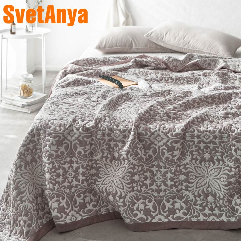 Svetanya Gauze Cotton Towel Blanket Jacquard Thin Throws