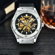 Мода Навигатор Серии Силиконовые Мужчины Часы Лучший Бренд Класса Люкс Скелет Прозрачный Механические Часы Часы Мужчины Наручные Часы Montre