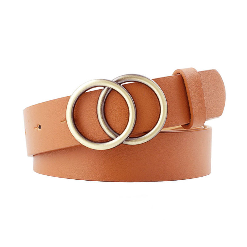 Soft Imitation Leather Double Ring Buckle Retro Decoration Casual Tightening All Matching Light Long Women's Belt Solid Hole Bel