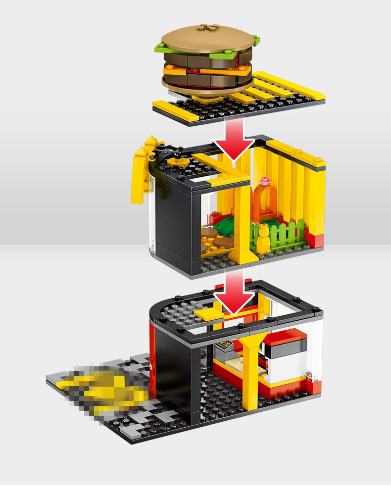 Street Hamburger Cafe Retail Convenience Store Architecture Building Blocks Compatible Legoed Technic City Street View Brick Toy 37