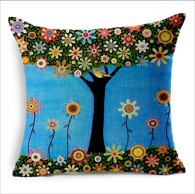 High Resolution Design 300dpi Custom Ink Painting Covers of Cushion Small Fresh Flowers Hand painted Oil Draw Trees Pillow Cover-in Pillow Case from Home ...