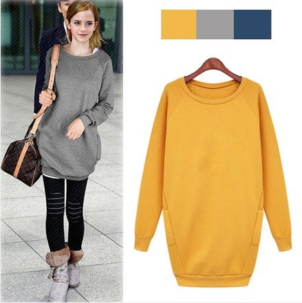 2014 Fashion Korean Large size women thick loose pullovers Slim ...
