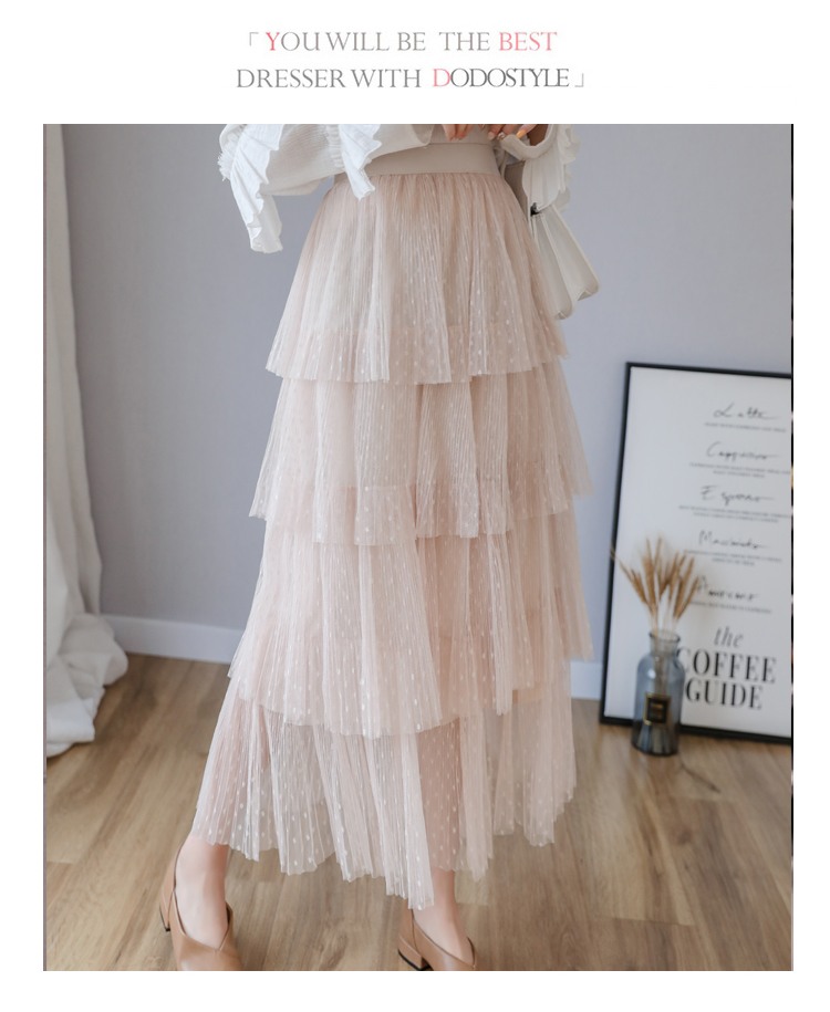 Fitaylor Spring New Sweet Cake Layered Long Mesh Skirts Princess High Waist Ruffled Vintage Tiered Tulle Pleated ins Skirts 6