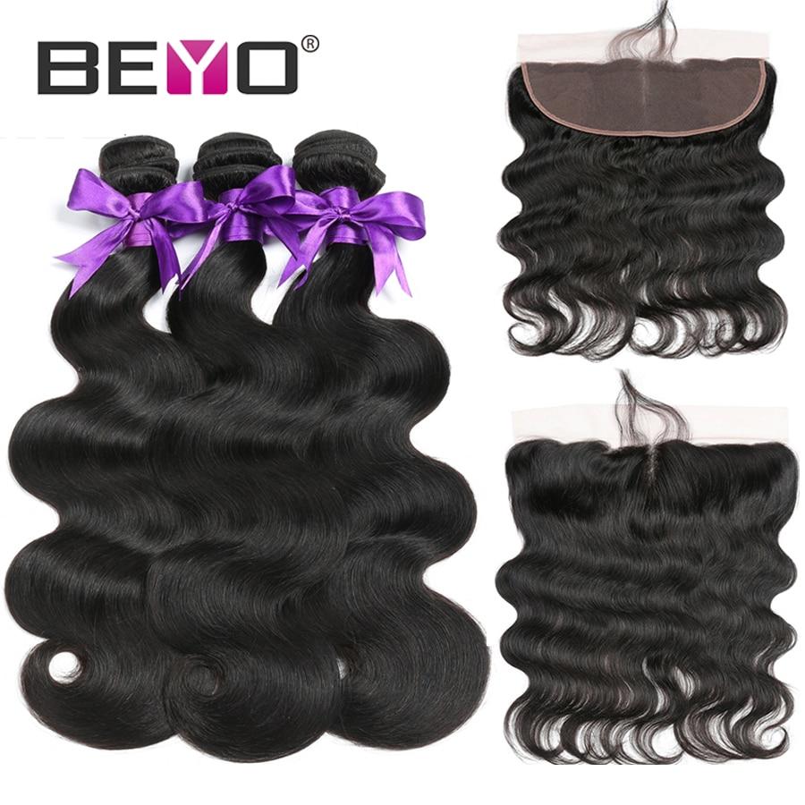 Beyo Human Hair 3 Bundles Peruvian Body Wave With Frontal Closure 13 4 Ear To Ear