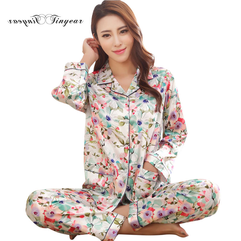 High Quality Women   Pajamas     Set   Large Size Full length V-Neck Sleep wear Ladies Winter Fashion floral M-XXL Breathable Pyjamas