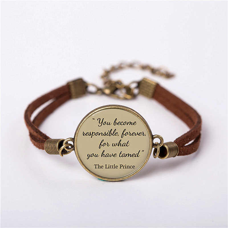 Movie The Little Prince short story Pendant Vintage Fashion Leather Bracelet friends Gift Women Chain Men Necklace drop shipping