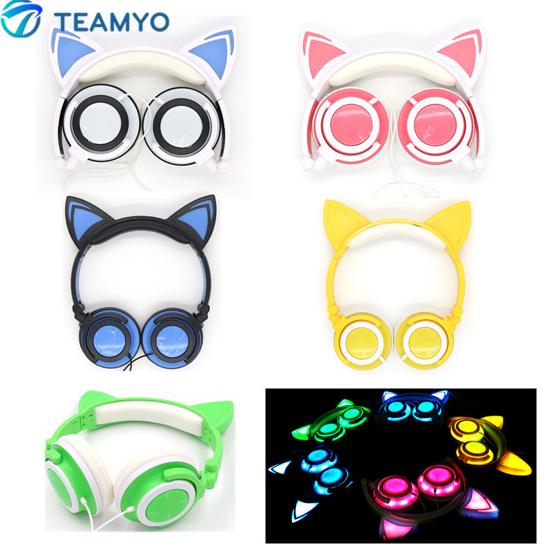 Teamyo Flashing Glowing Cat Ear Headphones Foldable Stereo headphone Gaming Headset With Led Light For iPhone Samsung Xiaomi PC foldable cat ear headphones gaming headset earphone with glowing led light for phone computer best halloween gift for girls kids