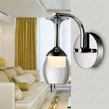7W LED Wall Sconces Light K9 Crystal Bedside Lamp Wine Glass Lampshade Bedroom Corridor Living Room Hotel(China)