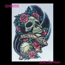 3D Arm Hot Flashes Colorful Skull Temporary Tatoo Sticker Waterproof Tattoo Skeleton Skull Tattoos Tatto Body Art Nontoxic