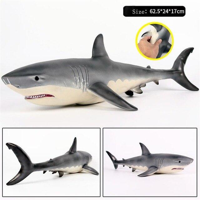 Моделирование мягкий клей акула игрушка Большой Megalodon Большая Белая Акула Большой размер диких животных Рисунок морской мир модель