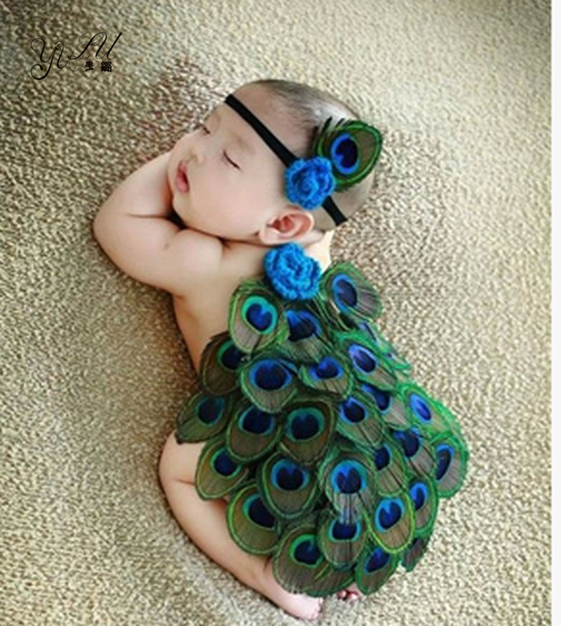 Newborn Baby Girl Birthday Angel Feather Peacock With Headband Photography Props Outfits Infant Baby Photo Fotografia Accessorie