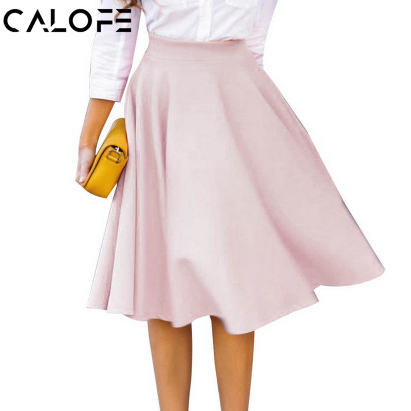 CALOFE Skirt Women High Waist Petticoat Summer Knee Length Femme Vintage Pleated Clothing Soft Silk Pure Color Skater Skirts