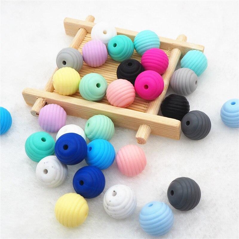 Chenkai 20pcs Silicone Spiral Teether Beads DIY Baby Shower Pacifier Dummy Teething Montessori Sensory Jewelry Making Toy Beads
