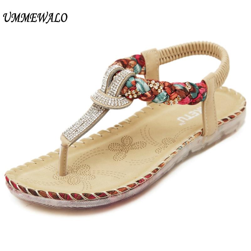 Ummewalo Лето Сандалии для девочек Для женщин с Т-образным ремешком Сланцы стринги Сандалии для девочек дизайнерские Эластичная лента дамы Босоножки-гладиаторы Zapatos Mujer