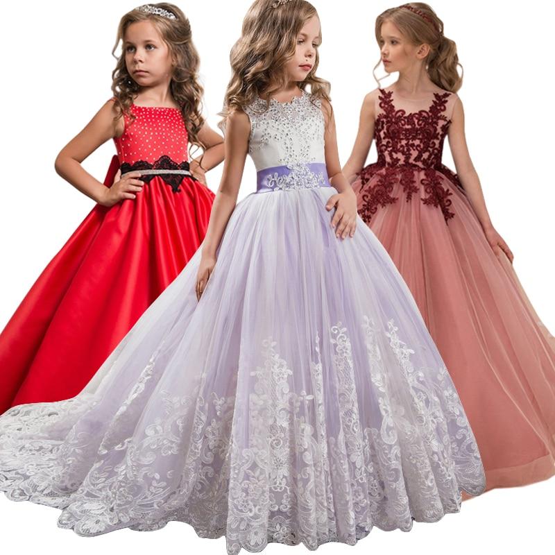 e45525e486ccf Robes de soirée de mariage de fille de fleur robes d enfants pour des filles  robe de princesse robe d adolescente 7 8 9 10 11 12 13 14 ans Vestidos dans  ...