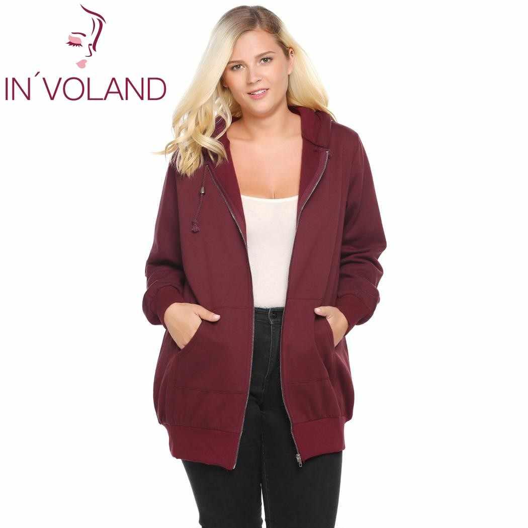 bcc8dd681df ... IN VOLAND женские толстовки с капюшоном большой размер Осень Зима Новая  Молния однотонная повседневная куртка ...