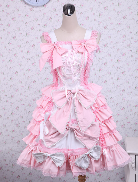 Sweet Pink Cotton Loltia Jumper Dress Bows Layers Ruffles