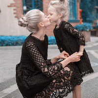 new 2018 autumn winter Mother daughter dresses women and girls black/white lace dress family christmas wedding/party clothes