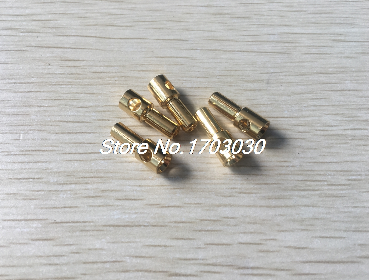 5 Pcs Gold Tone Plated 5mm Inside Dia Male Banana Plug Bullet Connector gold tone 0 4 ohm 5