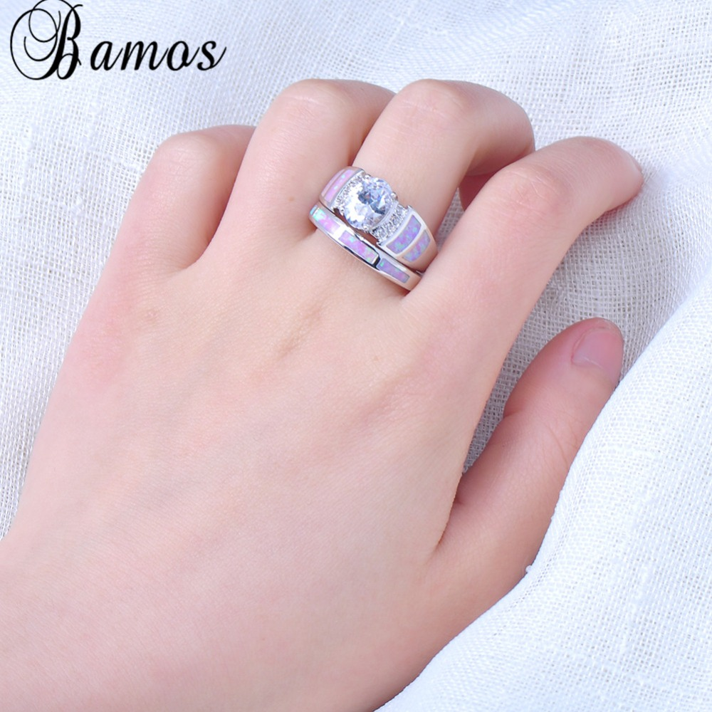 Bamos Romantic Pink Fire Opal Ring Set For Women Lady White Gold ...