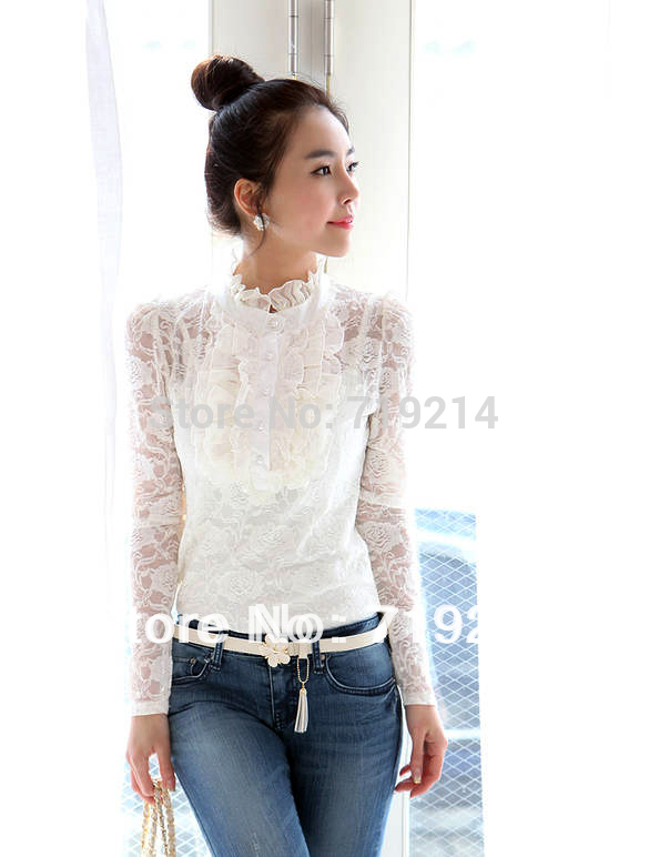 9b4205c22 Beautiful White High Neck Blouse New With Long Sleeve Lace Women Blouse Tops  with Braces Vest Black M, L, XL 7416