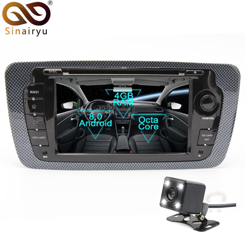 Sinairyu 1024x600 Octa Core 4GB RAM Android 8.0 Car DVD Player Radio For Seat Ibiza 2009 2010 2011 20122013 With BT Wifi GPS цена