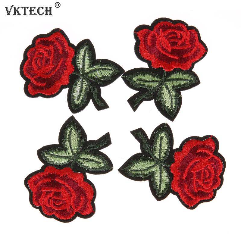 Red Rose Flower Embroidered Iron Sew On Patch Applique for Clothes DIY Craft New