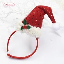Raindo Brand 2017 HOT Kids Hair Accessories Christmas Creativity Hair Bands Fabrics Fluff Xmas Hat Shape Hair Clip Hairhoops