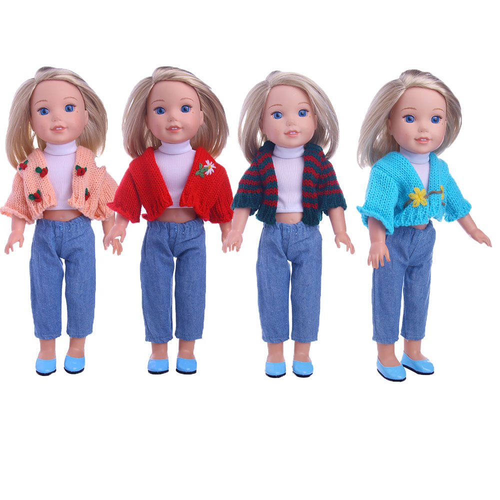 4 kinds of Trend sweater set (jeans + pure white shirt + sweater) for Wellie Wisher doll ,Doll accessories